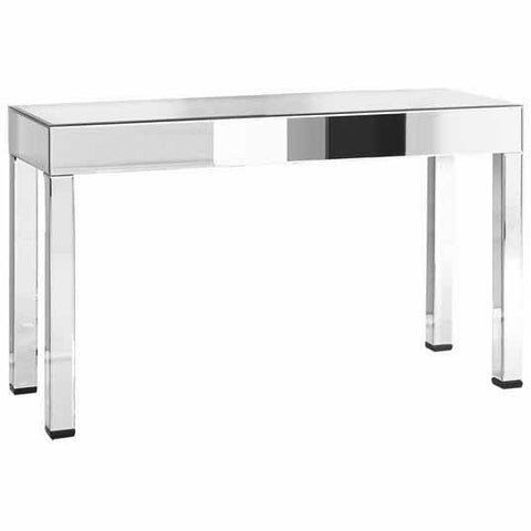 "Modern 55-1/2""x20""x33.75"" Mirrored Accent Table, Silver"