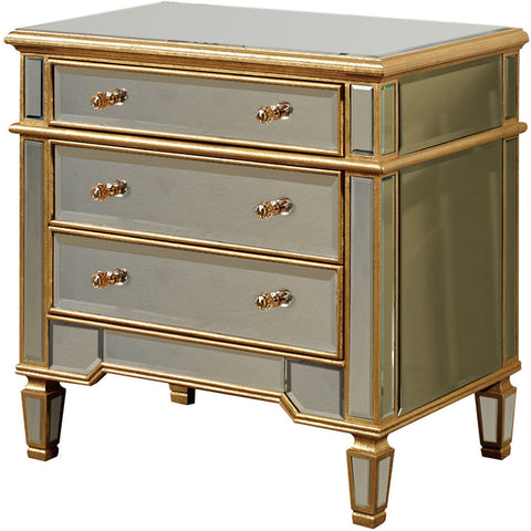 "Florentine 30""x20""x30"" Mirrored 3-Drawer Cabinet, Gold"