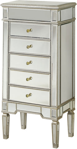 "Florentine 24""x17""x52"" 5-Drawer Mirrored Jewelry Armoire, Silver"