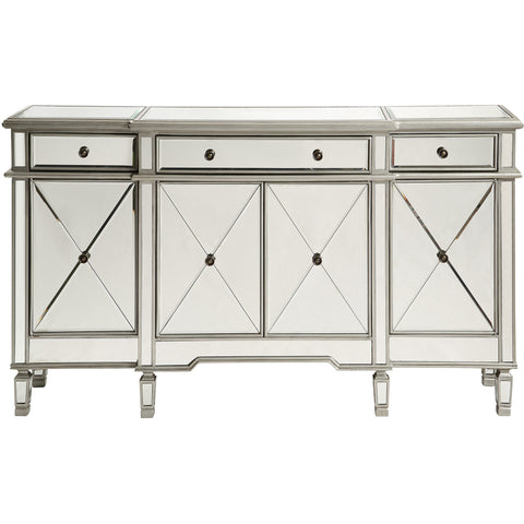 "Danville 60""x14""x36"" Mirrored 3-Drawer & 4-Door Cabinet, Silver"