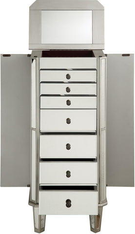 "Danville 18""x12""x41"" 7-Drawer Mirrored Jewelry Armoire, Silver"