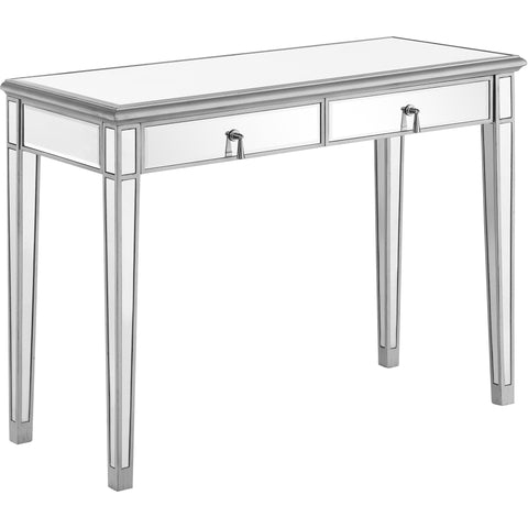 "Chamberlan 42""x18""x31"" Mirrored Console Table, Silver"