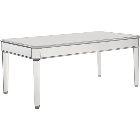 "Chamberlan 60""x32""x30"" Rectangle Mirrored Dining Table, Silver"