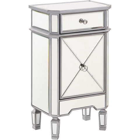 "Chamberlan 18""x12""x32"" Mirrored Drawer & Door Cabinet, Silver"