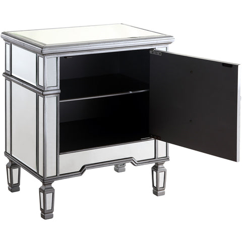 "Chamberlan 24""x16""x27"" Mirrored Cabinet, Silver"