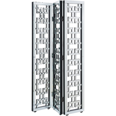 "Chamberlan 72""x48"" 3-Panel Mirrored Room Divider Screen, Silver"
