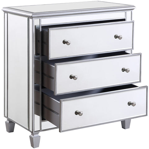 "Chamberlan 33""x18""x32"" Mirrored 3-Drawer Bedside Cabinet, Silver"