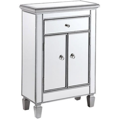 "Chamberlan 24""x12""x36"" Mirrored Drawer & 2-Door Cabinet, Silver"
