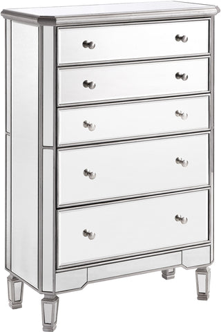 "Chamberlan 33""x16""x49"" Mirrored 5-Drawer Cabinet, Silver"