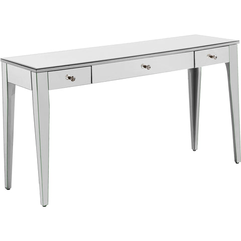 "Chamberlan 54""x16""x30"" 3-Drawer Rectangle Mirrored Desk, Silver"