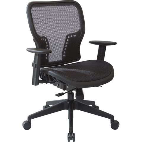 Dark Air Grid Seat & Back Executive Chair with Padded Arms, Black