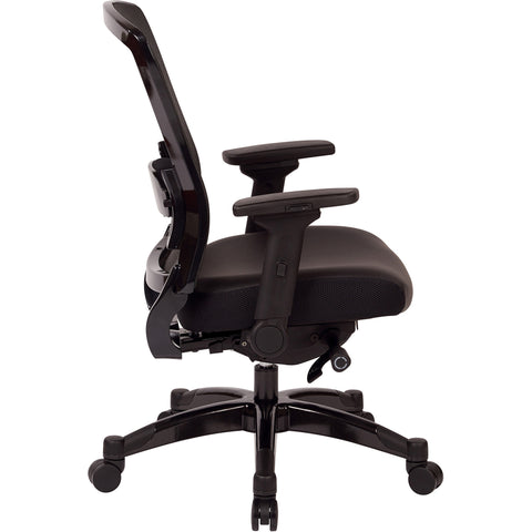 Professional Manager's Chair with R2 SpaceGrid Back, Black Bonded Leather