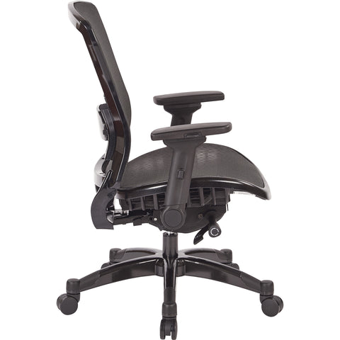 Professional Manager's Chair with R2 SpaceGrid Seat/Back & Flip Arms, Black