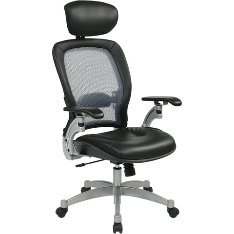 Professional Air Grid Back Chair with Leather Seat & Adjustable Headrest, Black