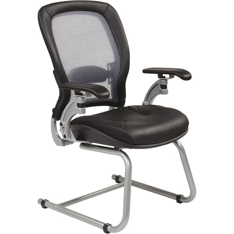 Visitor's Chair with Light Air Grid Back & Sled Base, Black Bonded Leather