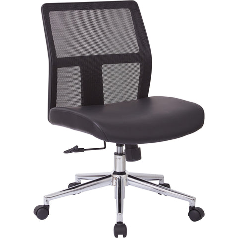 OSP Mesh Mid-Back Chair with Chrome Base, Black Bonded Leather