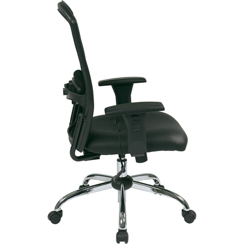 Work Smart Screen Back Chair with Chrome Finish Base, Black Bonded Leather