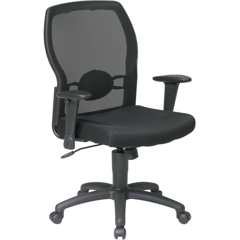 Work Smart Woven Mesh Back Chair with Padded Arms, Black