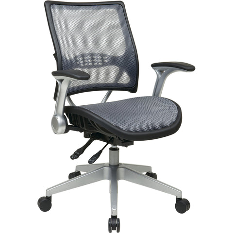 Light Air Grid Manager's Chair with Flip Arms & Platinum Finish Base, Black