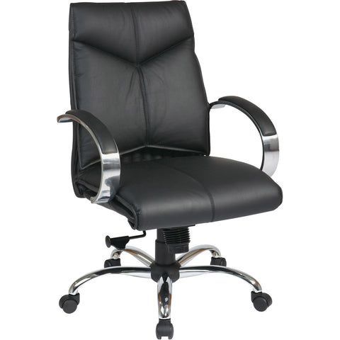 Pro-Line II Mid-Back Chair with Chrome Finish Base, Black Top Grain Leather