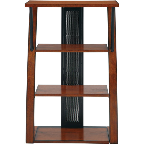 OSP Aurora Bookcase with Powder-Coated Black Accents, Medium Oak Finish