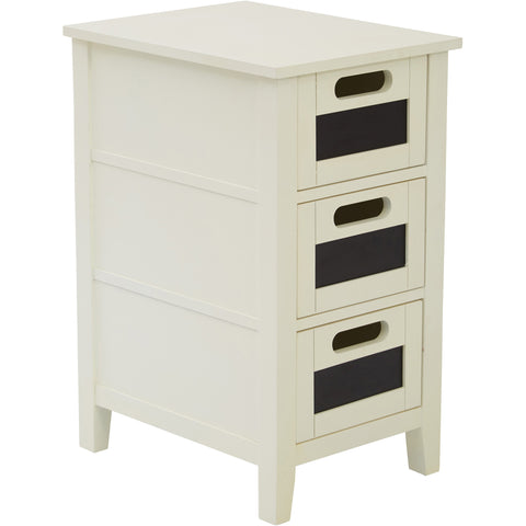 OSP Avery Chalkboard Chair Side Table, Cream Finish