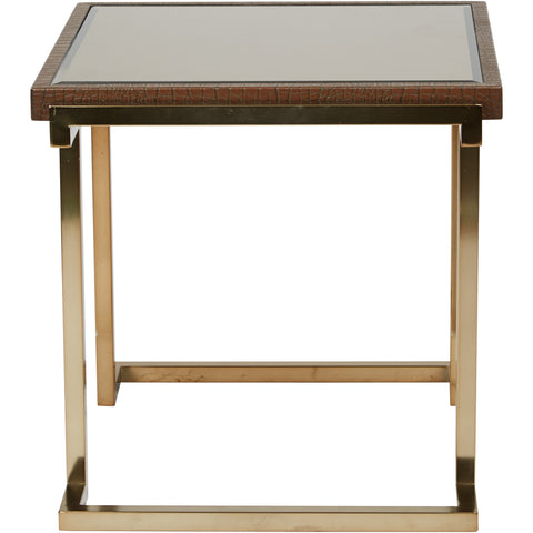 OSP Isabella Metal End Table with Bronze Glass Top, Champagne Finish