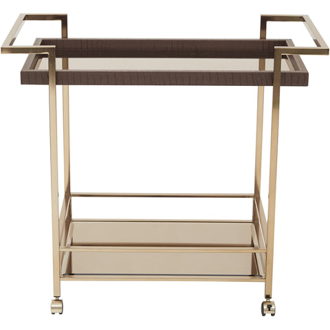OSP Isabella Wine Cart with Bronze Glass Top & Champagne Metal Frame