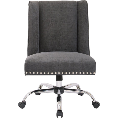 Alyson Manager's Chair with Silver Nail Heads & Chrome Base, Charcoal Fabric
