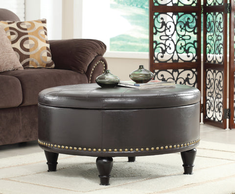 Augusta Storage Ottoman with Flip-Over Tray, Espresso Bonded Leather