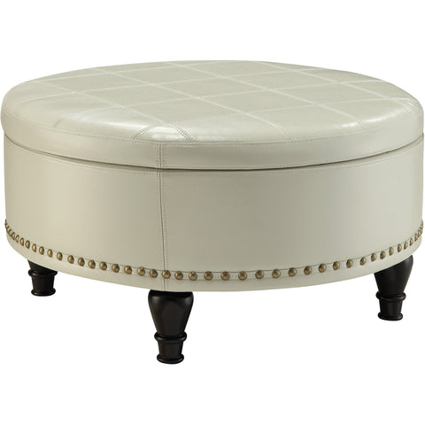 Augusta Storage Ottoman with Flip-Over Tray, Cream Bonded Leather
