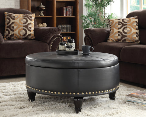Augusta Storage Ottoman with Flip-Over Tray, Black Bonded Leather