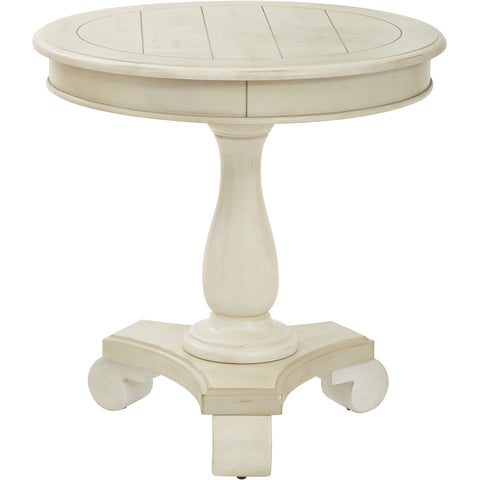 Avalon Round Accent Table, Antique Beige Finish