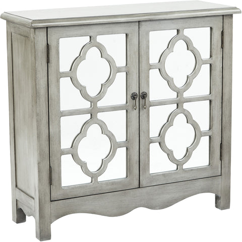 Bayview Storage Cabinet with Mirror Accents, Antique Taupe Finish