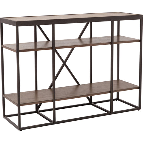 Brunswick Storage Console with Black Metal Frame, Dark Walnut