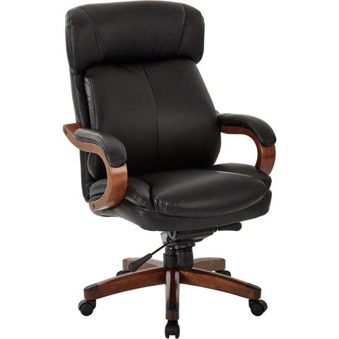 Buchanan Executive Chair with Wood Arms & Base, Black Bonded Leather