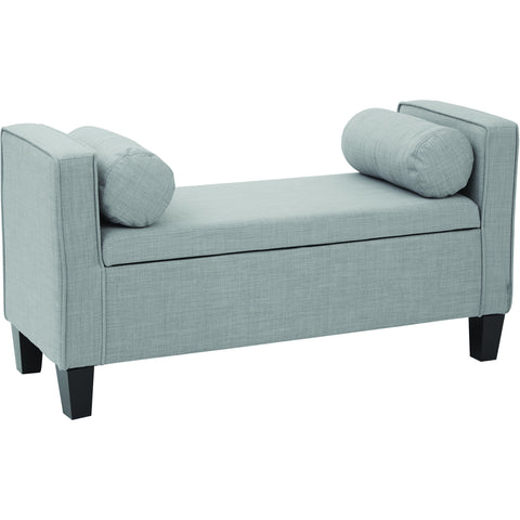 Cordoba Storage Bench with Pillows, Milford Dove Fabric