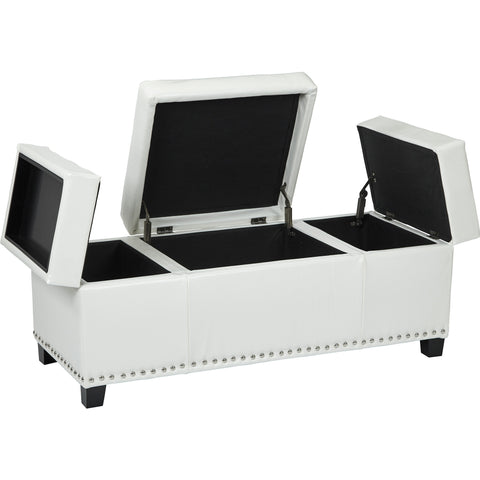 Geneva Storage Ottoman with Built in Tray, White Eco Leather