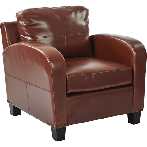 OSP Metro Club Chair with Espresso Legs, Cream Bonded Leather