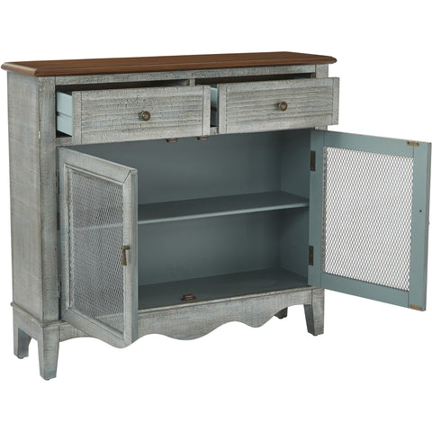 Lambert Storage Console, Antique Atlantic Blue 2-Tone Finish