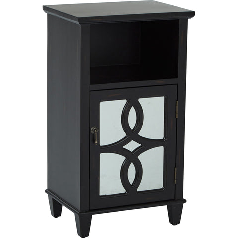Medina Storage Accent Table with Mirror Accents, Antique Black Finish