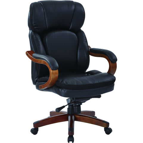 Van Buren Executive Chair with Wood Arms & Base, Black Bonded Leather