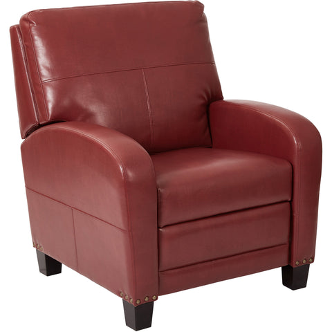 Wellington Recliner with Antique Bronze Nail Head Accents, Merlot Bonded Leather