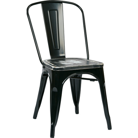 OSP Bristow Metal Chairs, Vintage Ash Crazy Horse Finish Seat, Black (Set of 4)