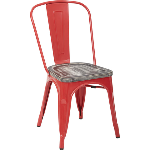OSP Bristow Metal Chairs, Vintage Ash Crazy Horse Finish Seat, Red (Set of 2)