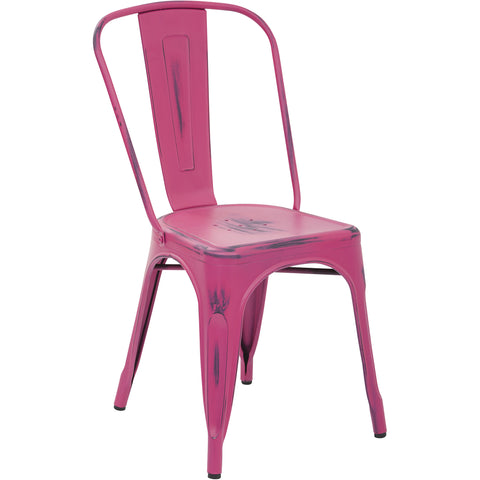 OSP Bristow Metal Stackable Chairs, Antique Pink Finish (Set of 2)