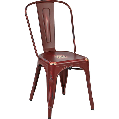 OSP Bristow Metal Stackable Chairs, Antique Red Finish (Set of 2)
