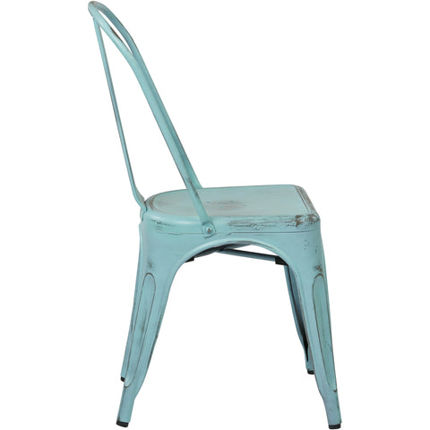 OSP Bristow Metal Stackable Chairs, Antique Sky Blue Finish (Set of 2)