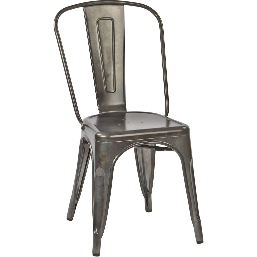 osp bristow metal stackable chairs matte galvanized finish set of 4