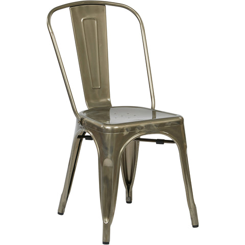 OSP Bristow Metal Stackable Chairs, Gunmetal Finish (Set of 4)